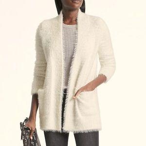 Banana Republic Ivory Fuzzy Long Cardigan Sweater